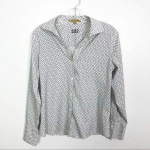 Alex Marie Printed Button Down Shirt Size 10